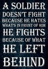 INSPIRATIONAL SOLDIER QUOTE SIGN A4 PRINT POSTER A SOLDIER DOESN'T FIGHT .....