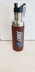 """Detroit Lions Steel Water Bottle with leather """"Football"""" wrap 26 oz. NEW"""