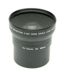 Digital HD 0.45x Wide Angle Lens W/Macro & 58mm Thread F/Canon S3. Japan. Clean.