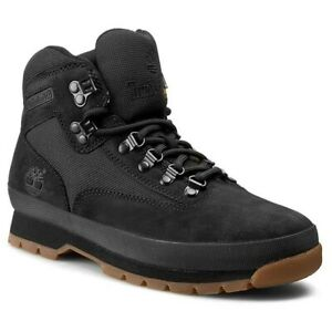 TIMBERLAND Hiking Boots Euro Hiker A11TY Black Canvas Nubuck  Men's 9.5 NEW