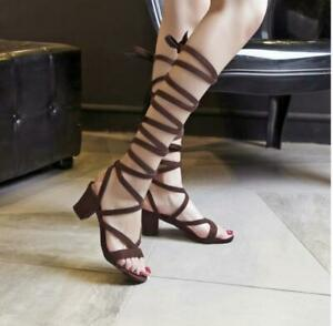 Women Roma Sandals Gladiator Multi Strappy Flats Mid Calf Sandal Boots Shoes New