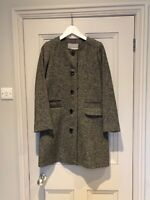 Pure Collection Womens Black And White Wool Tweed Style Car Coat UK10