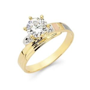 14K Solid Tri Colored Italian Gold Striped Solitaire Engagement Bridal Band Ring