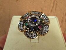 anello  argento 925  rubini zaffiri  smeraldi  stile antico