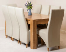 Kuba Chunky 180cm Kitchen Solid Oak Dining Table and 6 Ivory Leather Chairs