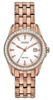 CITIZEN WOMENS $325 ECO-DRIVE DAZZLING CRYSTALS ROSE GOLD WATCH, DATE EW1903-52A