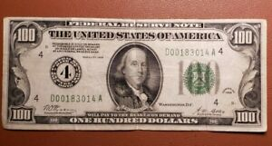 $100 1928 CLEVELAND NUMERAL 4 GREEN SEAL FEDERAL RESERVE NOTE REDEEMABLE IN GOLD