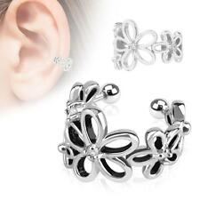 "Clip On Fake Ear Cuff Cartilage Earring Ring 3/8"" Non Pierced Flower Adjustable"