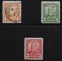 Canada Scott #149-51, Singles 1928-29 FVF Used/MH