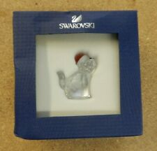 Swarovski Crystal Christmas Figurine Cat With Santa'S Hat #5060448 New