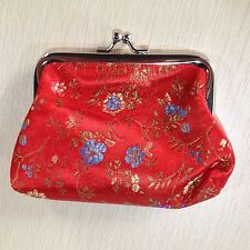 Chinese Embroidery Silk Satin Mini Coin Pouch PURSE Wallet Red (1PCS)