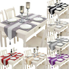 """72"""" Diamante Velvet Table Runner + Dining Placemats Table Place Mats Decor"""