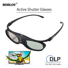 3D Active Shutter Glasses DLP-Link 96/144Hz USB Movie For BenQ Dell Sharp Black