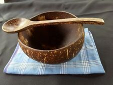 Coconut shell wood bowl & spoon set soup, food, rice handcraft kitchen dining#1