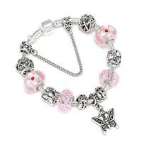 Ladies Girls Silver Charm & Pink Crystal Ball Snake Chain Pandora Bracelet