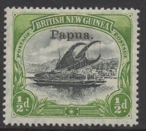 PAPUA (BNG) 1907 1/2d BLACK-YELLOW-GREEN LAKATOI STAMP (Sm.papua) OVP MH SG.38