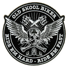 Embroidered Old Skool Biker Ride Em Hard Sew or Iron on Patch Biker Patch