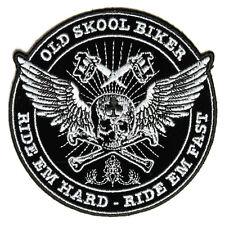 Embroidered Old Skool Biker Ride Em Hard Iron on Sew on Biker Patch Badge