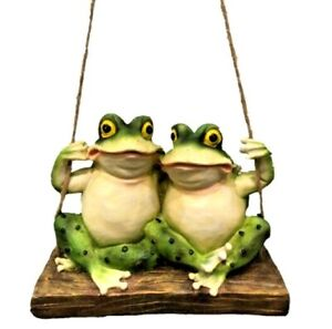 Frog On Swing Statue Figurine sculpture Ornament Garden Home Decor  25 cm