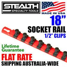 "STEALTH 18"" Socket Rail 1/2"" Twist Lock Clips Sockets Hanging Tool Holder Peg"