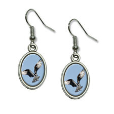 Osprey Bird of Prey - Novelty Dangling Drop Oval Charm Earrings