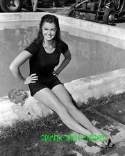 ESTHER WILLIAMS 8x10 Lab Photo Poolside Glamour, Adorable Leggy Swimmer Portrait
