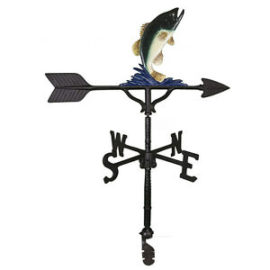 """32"""" Roof Mount Weathervane BASS FISH FISHERMAN Arrow Directionals New 4 finishes"""
