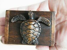 1 Hono Turtle Box Teak Wood Mini Chest Coins Jewelry Box Sea Honu Tortoises New!