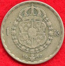 SWEDEN 1 KRONA - 1948 - 40% SILVER - 0.0900 ASW