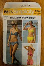 Sewing Pattern Simplicity 5576 Misses' Set Every-Body Bikini 12-14 M UNCUT 70's