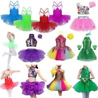 Sequined Children Latin Ballet Dance Dress Girls Leotard Dancewear Costume Tutu
