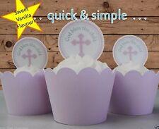 girl pink cross circles communion  EDIBLE wafer cupcake cake toppers baptism
