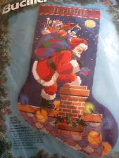 Christmas Holiday Bucilla Needlepoint Stocking Kit,SANTA ON THE ROOFTOP,60732,18