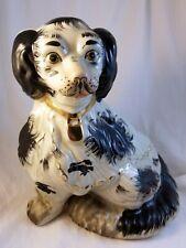 Staffordshire Reproduction King Charles Spaniel Black Dog Statue 10x9x5.5