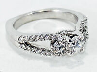 14K White Gold Round Brilliant Cut 0.50ctw Diamond Engagement Ring