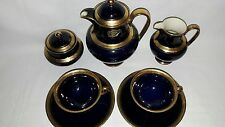 Fine Kobalt Gold TETE A TETE Mokkaservice Moccaservice ALKA für 2 Personen