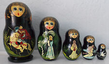 Russian Fairy Tale Matryoshka Nesting Doll Painted Horse Prince Wizard Witch