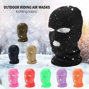 Face Mask Ski Mask Winter Cap 3 Hole Balaclava Beanie Hat Hood Tactical Warm