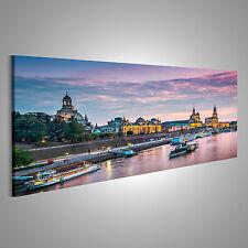 Dresden am Abend Bild auf Leinwand BLM-Pano