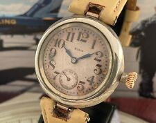 Beautiful Elgin Trench Watch - Great Patina on Dial and measures 34mm