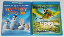 Kid Blu-ray 3D Lot - Happy Feet Two 3D (Used) Epic (Used)
