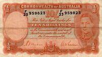 1939 Australia R12 Ten Shillings  Sheehan/McFarlane gF SERIAL NUMBER F/23 959823