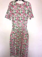 VTG Lilly Pulitzer Size L 10/12 Cotton Dress White Pink Tulip Flowers Pockets