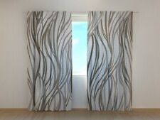 Photo Curtain Printed Gray Abstract Waves Wellmira Made to Measure