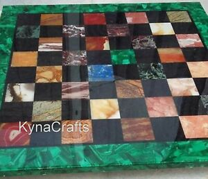 Malachite Marble Inlay Work Coffee Table Top Check Design Chess Table 30 Inches