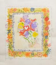 """Tresors d'Art""  watercolor, gouache & pen on paper  Hearts & FLowers painting"