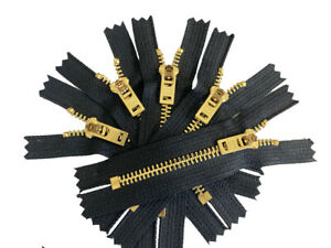 "3"" to 11"" Jeans Zipper YKK #5 Brass Metal Closed End - Colors Black or White"