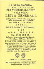 Fortunato Indovino La vera smorfia   Anastatica 1776
