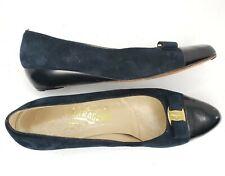 Salvatore Ferragamo Italy Suede Navy Vara Bow Cap Toe Wedge Heels Shoes 10 AA