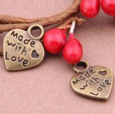 10pcs-Made with Love charm-1 loop heart shape